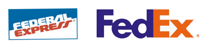 Links: Logo FederalExpress, rechts: FedEx nach Rebranding